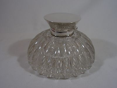 ANTIQUE ASPREY of LONDON STYLISH STERLING SILVER TOPPED GLASS INKWELL 1904