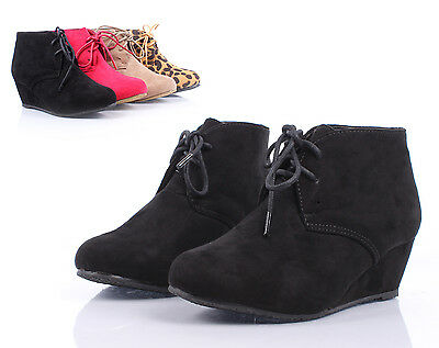 Black Lace Up Girls Wedge High Heels Kids Ankle Boots Youth Shoes Size 2