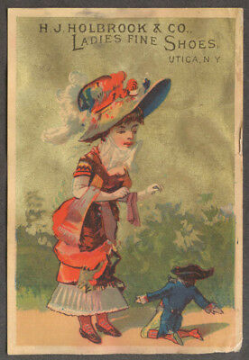 H J Holbrook Ladies Fine Shoes Utica NY trade card small man tall girl 1880s