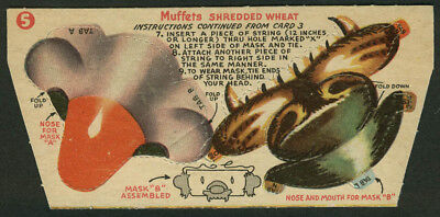 Muffets Shredded Wheat Circus #5 Mask A & B nose & mouth punch-out 1950s