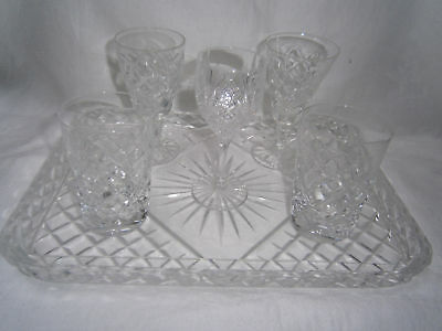 Vintage Unmarked Good Quality Heavy Diamond Cut Crystal Tray & 5 Glasses
