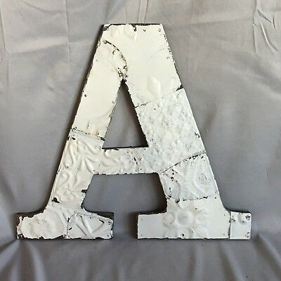 "Large Antique Tin Ceiling Wrapped 16"" Letter 'A' Patchwork Metal White 743-17"