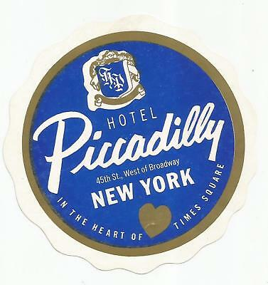 HOTEL PICCADILLY luggage label (NEW YORK CITY)