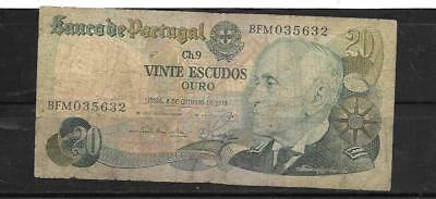 PORTUGAL #176b 1978 VG USED 20 ESCUDOS BANKNOTE PAPER MONEY CURRENCY BILL NOTE