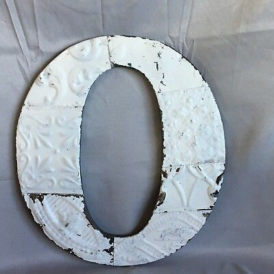 "Large Antique Tin Ceiling Wrapped 16"" Letter 'O' Patchwork Metal White 744-17"