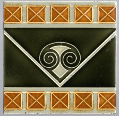 Germany Art Nouveau Majolica Jugendstil Boizenburg Original period antique tile