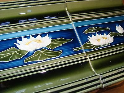 Gorgeous set of 6 Original Antique tiles Germany Art Nouveau period Pond Flowers