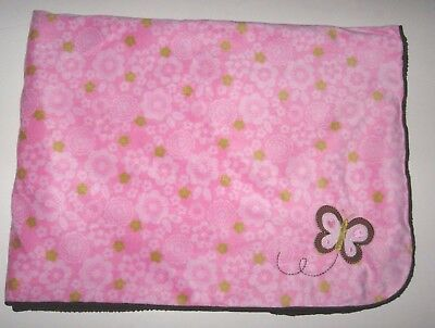 Carters Just One You Pink Brown Butterfly Flower Baby Blanket Sherpa Back Floral