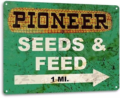 Pioneer Seed and Feed Farming Vintage Retro Tin Metal Sign