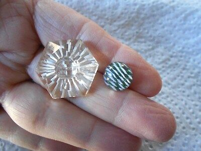 Antique/vintage Pair Of Beautiful Glass Buttons Paperweight  #366