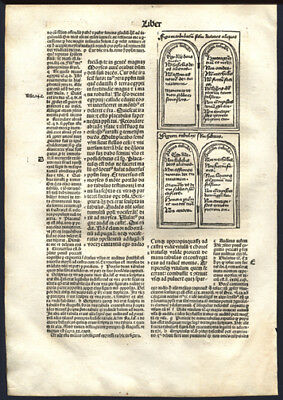 1497 Large Incunable Bible Leaf Exodus 32 Woodcut of Moses' Tablets of Law