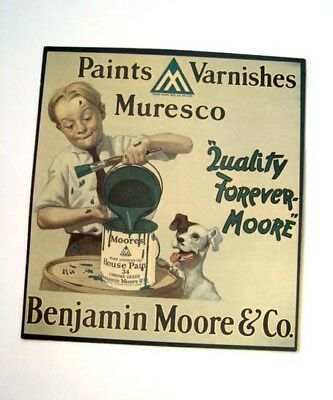 Nostalgic Fun Young Lad & Cute Dog Benjamin Moore Paint Co., Advertising Sign