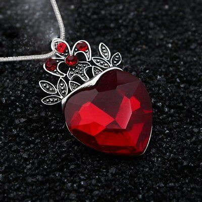 Valentine's Day Evie Descendants Red Heart Crown Pendant Necklace Jewelry Gift