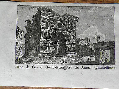 ROM Arco di Giano Quadrifronte Kupferstich 1824 aus Vasi & Nibby Guide of Rome