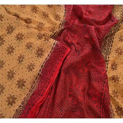 Sanskriti Vintage 100% Pure Cotton Saree Brown Printed Sari Craft 5 Yard Fabric