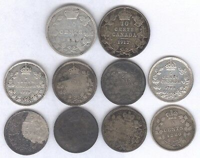 10 Genuine Silver Older Canadian 5c Silvers & 10c Silver