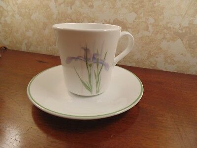 Corelle By Corning Coffee Cup And Saucer Shadow Iris Pattern