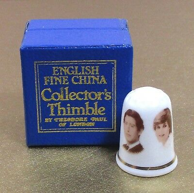 English fine china thimble Prince Charles & Diana TP Theodore Paul ᵂ