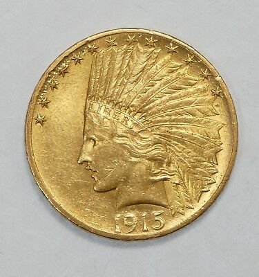 BARGAIN 1915 GOLD Indian Head Eagle $10 Coin ALMOST UNCIRCULATED