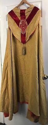 Beautiful Antique Catholic Bishops Priests Gold Brocade & Red Cope Vestment