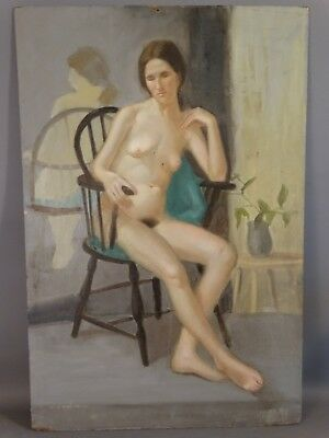 1950 Vintage RETRO Figure Study NUDE in CHAIR Boudoir LADY PORTRAIT Oil PAINTING