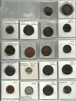 Lot Of 18 Foregin Coins 1600 's 1700 1800 Half Cent Maidstone