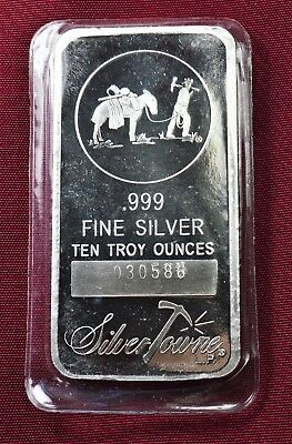 10 Troy Ounces .999 Silver Bar Silvertowne With Serial Number