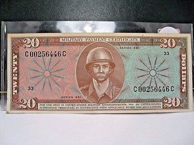 Series 681 USA $20 MPC Military Payment Certificate Bomber. High Grade.