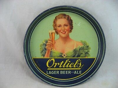 Ortlieb's Beer Tray Lager Ale Woman Rare American Art Works Inc Coshocton Ohio