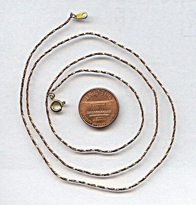 """1 VINTAGE SOLID BRASS 1mm. TWISTED COBRA 24"""" CHAIN NECKLACE  CH26"""