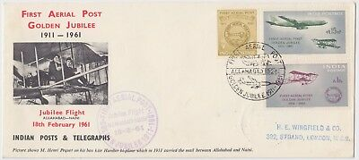INDIA 1961 *1st AERIAL POST GOLDEN JUBILEE* official illustrated cover