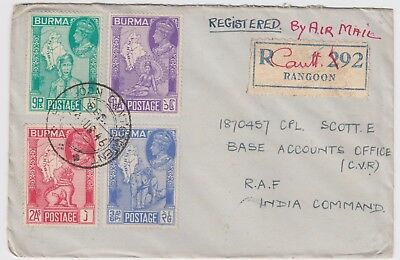 BURMA 1946 *VICTORY* set on cover to RAF INDIA COMMAND with RANGOON CANTONMENT