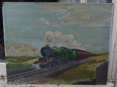 Vintage Original Oil Painting On Board Of A Steam Train At Full Steam