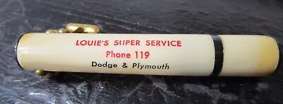 Vintage Oil Gas Advertising Promo Keychain Louie's Super Service Dodge Plymouth