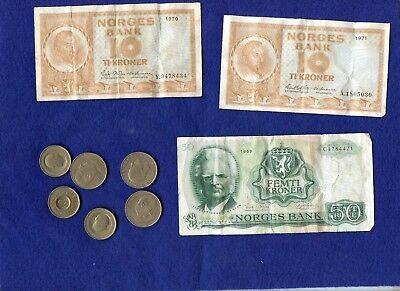 Norway ~ 160 Kroner Face Value ~ Coin & Currency ~ The 50 K Note Value $25