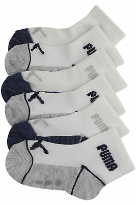 Puma Toddler Boy's 6-Pairs White Non-Slip Superlite Quarter Crew Socks Sz: 2T-4T