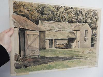 really old PAINTING barn farm landscape signed