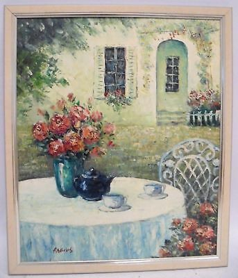 RABOUS Large Original Flowers On Table Canvas Oil Painting In Frame - S75