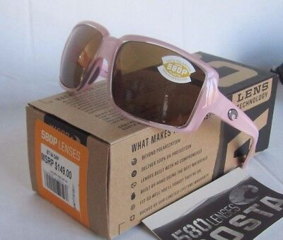 COSTA DEL MAR pink coral/amber BRITT POLARIZED 580P sunglasses! NEW IN BOX!