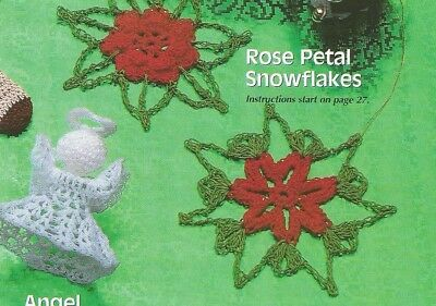 Crochet Pattern ~ Angel & Rose Petal Snowflakes Christmas Ornament ~Instructions