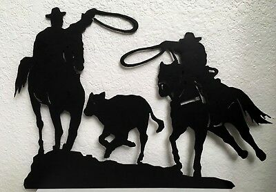 "Cowboys Roping Cattle Silhouette Steel Metal Wall Art Western Rodeo 11""x16"""
