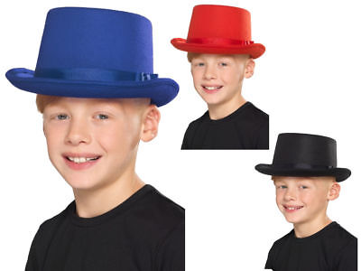 Top Hat Kids Red Black Or Blue Victorian Magicians Childs Fancy Dress