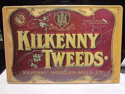 KILKENNY WOOLEN  TWEEDS IRELAND : EMBOSSED 3D METAL  ADVERTISING SIGN 30X20cm