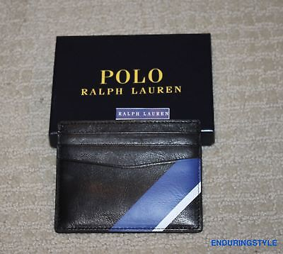 NEW Polo Ralph Lauren Black Leather Blue Stripe ID Logo Card Case