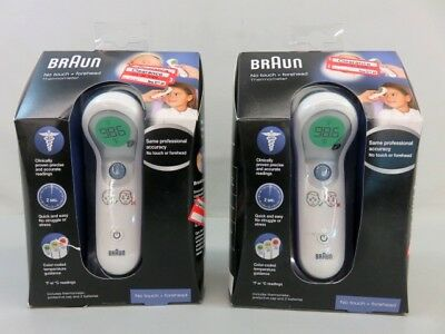 Lot of Two Braun 'No Touch + Forehead' Thermometers - Factory Sealed - REM