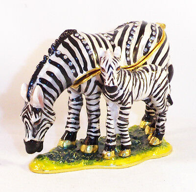 Zebra Mother & Baby Pewter Bejeweled Hinged Trinket / Jewelry /  Pill Box