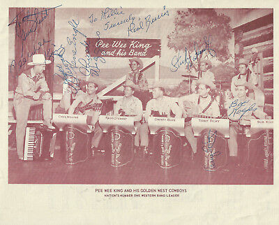 "Pee Wee King 8x10 ""Hit Sheet"" Signed By Most Golden West Cowboys Grand Ole Opry"