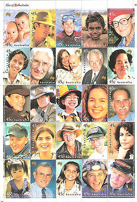 Australian Stamp Yearbook 2000 Faces of Australia Sheet Mint MUH Face $11.25