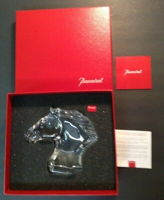 French Baccarat French Crystal Horse Head MINT w/ Box & packing-signed w/booklet