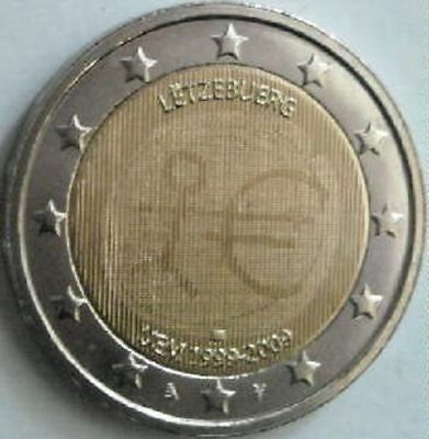 Luxembourg 2 euro 2009 EU EMU European Monetary Union 10 years UNC Bimetal